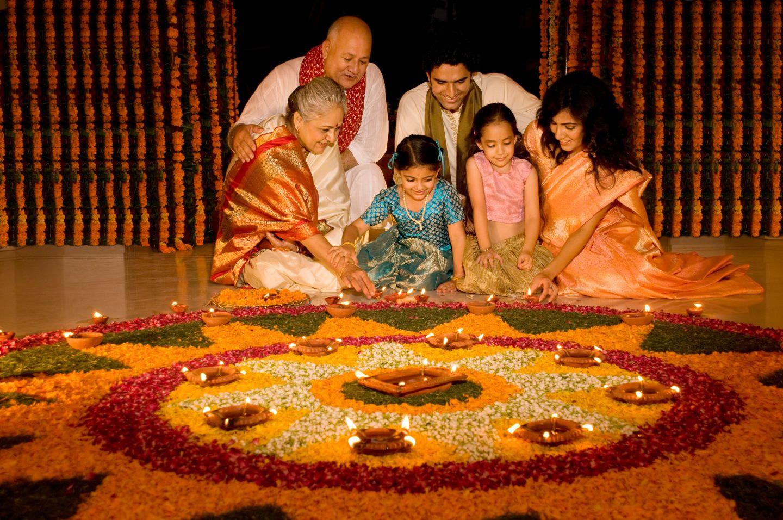 Famly Celebrating Diwali
